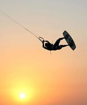 Kiteboarding at Sunset on South Padre