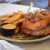 Chicken Tenders and fries with honey mustard dipping sauce
