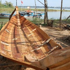 """Boat lovers will like the stop at the workshop where small VN """"ghe"""" are still constructed by han"""