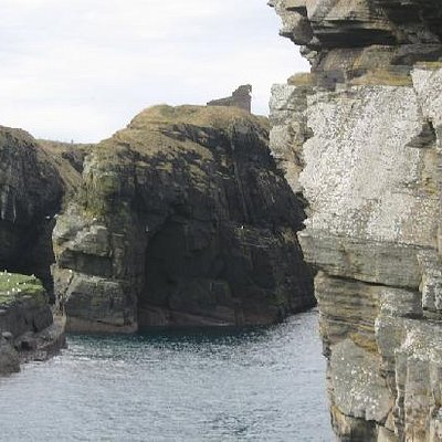 Castle of Old Wick stands on a promontory just south of Wick Town