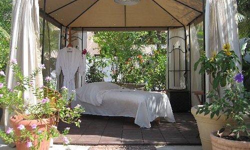 Martina's Oasis Spa garden treatment room