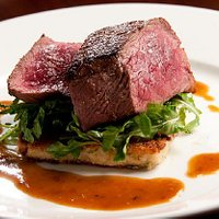 Seared Venison Loin with Jalepeno Bacon Grit Cake