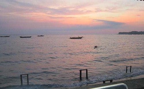 Watching the sunset at Bauang Beach