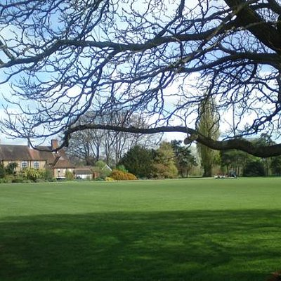 Looking north across lawns
