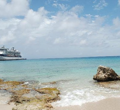 Rainbow Beach and our docked Cruise boat in the background.