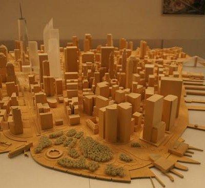 Holzmodell von Downtown Manhattan