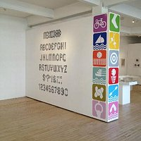 Lance Wyman's Mexico '68 alphabet and sports icons in the NUCA Gallery