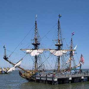 The Halmar Nykell at the Cape May ferry dock in Lewes.