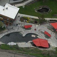 Aerial view of hot pool of the four lower/cooler pools.  temps ranges from 112-102