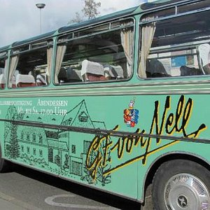 our transfer: a lovely kind of flower power bus