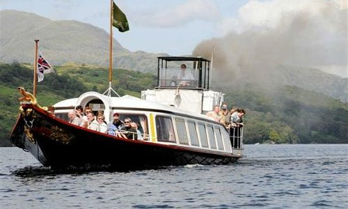 """SY Gondola """"steaming"""" on Coniston Water"""