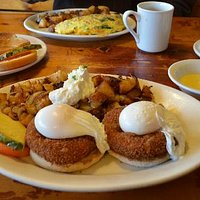 Crab Cake Benedict & Bacon & Cheese Omelet