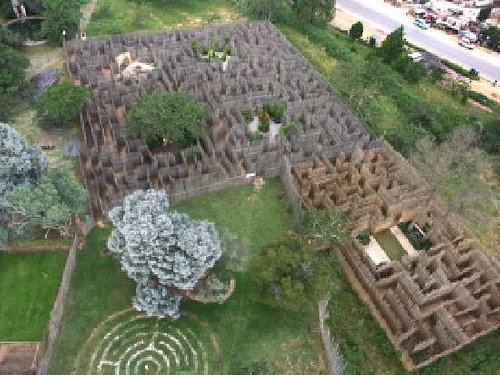 Aerial view of Elemental Maze, with 5 gardens