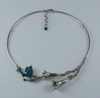 Humming bird with kantu flower necklace made with 950 silver, turquoise and abalone.