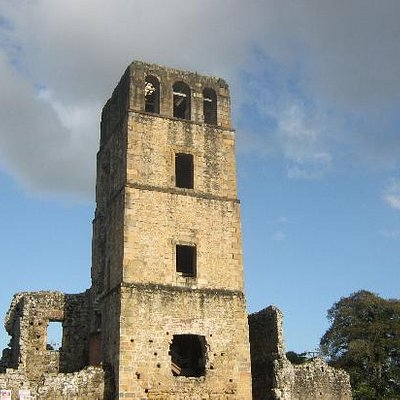 Ruins Cathedral tower Old Panama