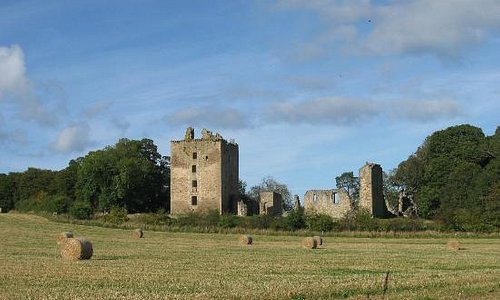 Spynie Palace seen from adjacent fields.