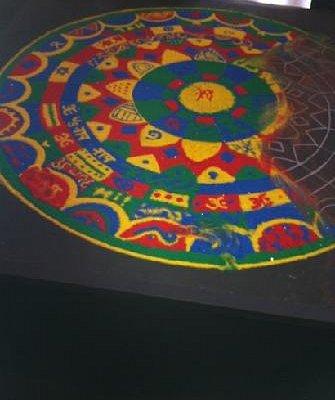 Tibet sand art in Gallo lobby.