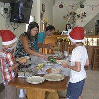 Serving Christmas roast dinner at Nice & Easy restaurant