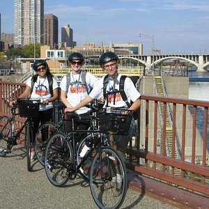 Bikers on the Stone Arch Bridge with Minneapolis By Bike