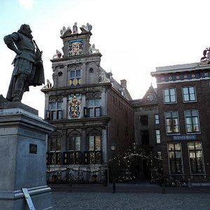 View from the square outside showing the various crests