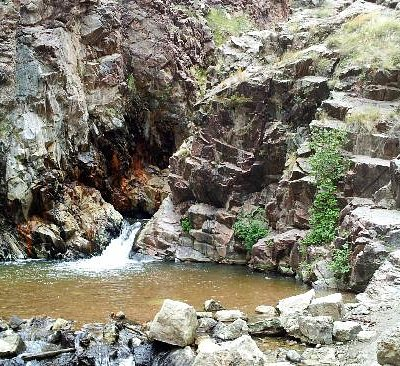 The bottom of the Nambe Falls