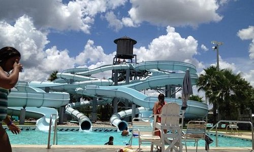 The water slides.