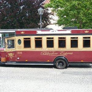 und hier der Belvedere-Express für Stadtrundfahrten in Weimar am Goetheplatz
