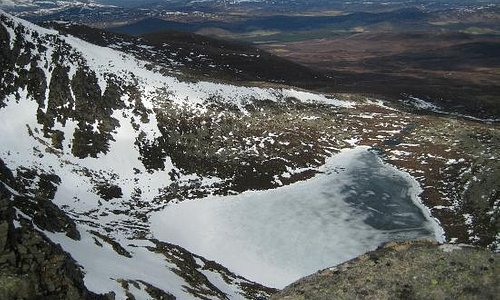 Looking down at the frozen Loch