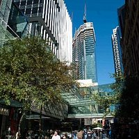 Looking up from the Pitt St Mall