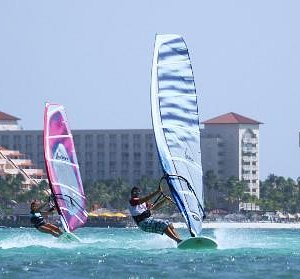 Windsurfing in front of the center