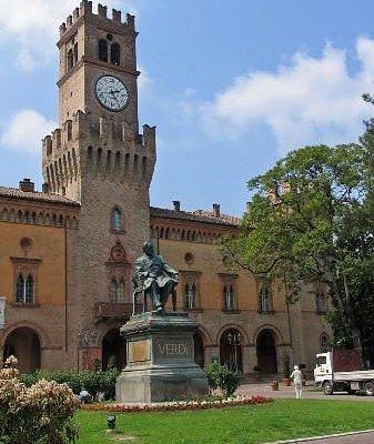 Facade and Verdi statue