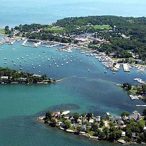 Aerial view of downtown harbor.