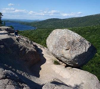 Bubble Rock with Jordan Pond in the background