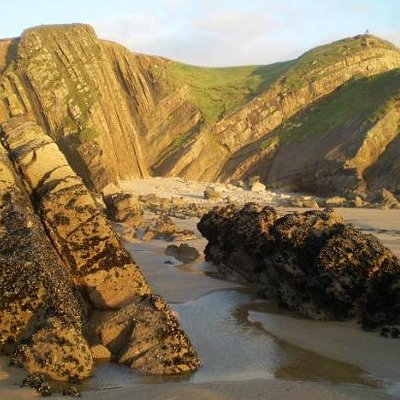 Syncline, Pearce's Cove, near Bude (person for scale on cliff top, far right)