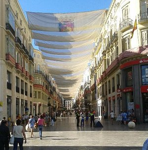 The beautiful Calle Larios - pedestrianised and the start of the Gourmet Tapas Tour