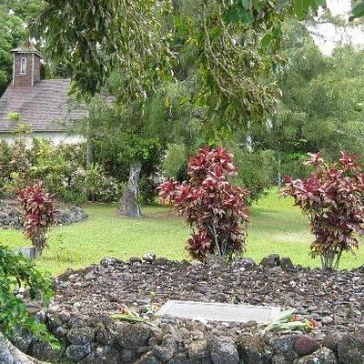 Lindbergh grave at Palapala Ho'omau Church in Kipahulu