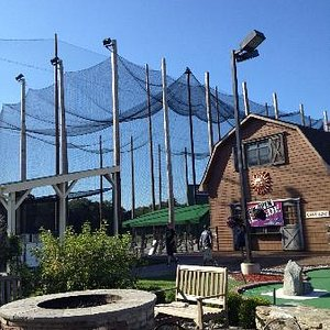 Batting cages and arcade building