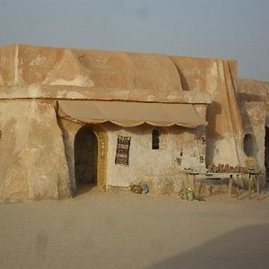 Buildings occupied by sellers of Sahara sand