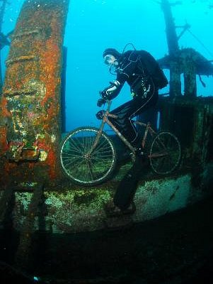 Ronald exploring the wreck in his own special way!