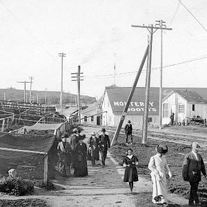A Sunday Stroll along the Monterey Waterfront. Circa. 1906