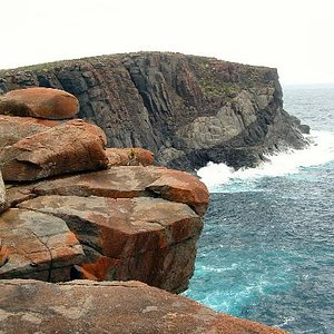 A view of the cliffs and rocky coastline.
