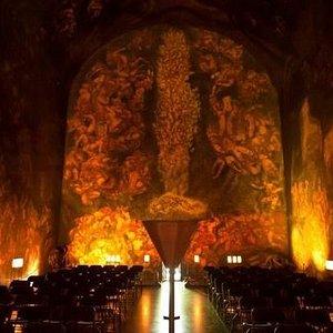 magic atmosphere inside the Emanuel Vigeland Mausoleum