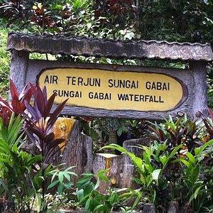 The sign board near the waterfall.