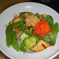 vermicelli salad with veggies and tofu
