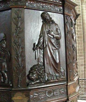 Détail de la chaire à precher (1700)