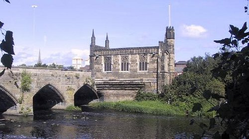 The Chantry from the bank of the River Calder