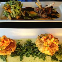 Lamb appetizer and crab cake appetizer