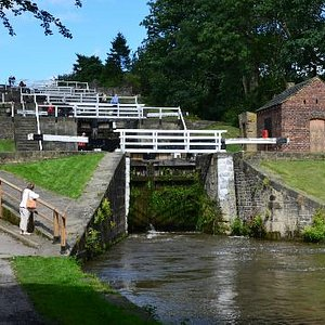 Photo of the 5 Rise locks from below