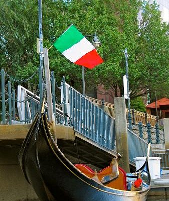 A personal favorite, the gondola tied up with the Italian flag overhead.