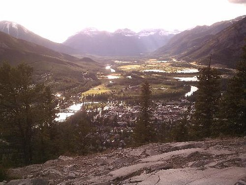 Cell phone picture from top, looking over Banff.